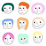 Colorful doodle face icon,avartar vector eps.10 Stock Images