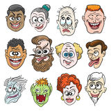 Colorful Doodle Faces Set. Doodle Faces Set in cartoon style. Twelve various emotions or face expressions. Vector illustration Stock Image