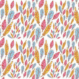 Colorful feathers creative seamless pattern Stock Photography