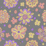 Colorful doodle flowers seamless pattern. Vector background Royalty Free Stock Images