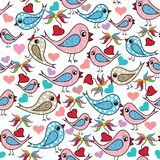 Colorful doodle hand drawn birds, love hearts, flowers seamless Stock Illustration