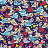 Colorful doodle hand drawn birds, love hearts, paisley flowers s Royalty Free Illustration