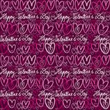Colorful doodle hearts and handwritten lettering seamless. Pattern for Valentines Day Royalty Free Stock Images