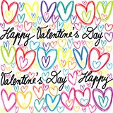 Colorful doodle hearts and handwritten lettering seamless patter. N for Valentines Day Royalty Free Stock Photo