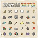 30 Colorful Doodle Icons Set 12 Stock Photography