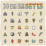 30 Colorful Doodle Icons Set 13. 30 Vector Colorful Doodle Icons Set 13 Royalty Free Stock Images
