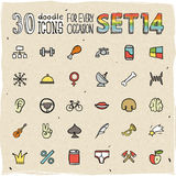 30 Colorful Doodle Icons Set 14. 30 Vector Colorful Doodle Icons Set 14 Stock Image