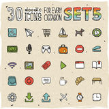 30 Colorful Doodle Icons Set 5 Royalty Free Stock Images