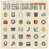 30 Colorful Doodle Icons Set 1 Stock Photography
