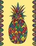 Colorful doodle illustration pineapple with boho pattern. royalty free illustration