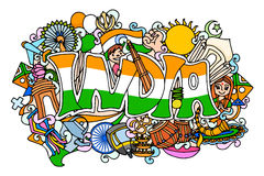 Colorful doodle on India concept Stock Images