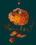 Colorful doodle pumpkin with decorative ornamental pattern. Stock Photo