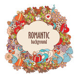 Colorful doodle romantic composition with banner and ornate elements. Colorful decorative romantic composition with banner, hearts, flowers, ornate elements in royalty free illustration