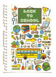 Colorful doodle school icons set. Stock Photos