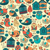 Colorful doodle seamless pattern with birds. Royalty Free Stock Image