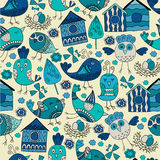 Colorful doodle seamless pattern with birds. Royalty Free Stock Photography