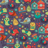Colorful doodle seamless pattern with birds. Stock Image