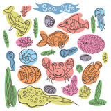 Colorful Doodle set.Funny Sea Life Royalty Free Stock Photo