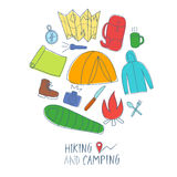 Colorful doodle set of hiking and camping stuff. Hand drawn colorful doodle set of hiking and camping stuff. Traveling objects Royalty Free Stock Images