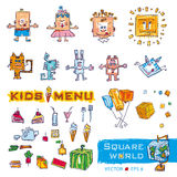 Colorful doodle set of objects from a child's life. Including pets, toys, food Stock Images