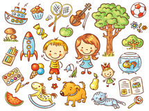 Colorful doodle set of objects from a child's life. Including pets, toys, food, plants and things for sport and creative activities Royalty Free Stock Photo