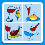 Colorful doodle sketches of Spanish wine Royalty Free Stock Images