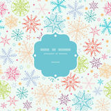 Colorful Doodle Snowflakes Frame Seamless Pattern Royalty Free Stock Photos