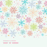 Colorful Doodle Snowflakes Horizontal Border Stock Images