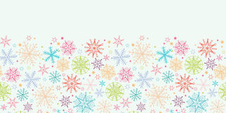 Colorful Doodle Snowflakes Horizontal Seamless Stock Image