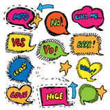 Colorful doodle speech bubble set. Hand drawn. Royalty Free Stock Photo
