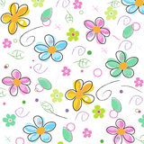 Colorful doodle spring flowers background Royalty Free Stock Photography