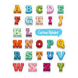 Colorful doodle style cartoon alphabet with simple. Patterns, volume.  vector Royalty Free Stock Photography