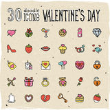 Colorful Doodle Valentine's Day Icons. 30 Colorful Doodle Valentine's Day Icons Stock Images