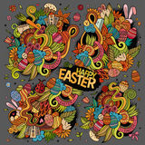 Colorful doodles cartoon set of Easter objects Royalty Free Stock Image