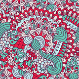 Colorful doodles floral and curves ornamental seamless pattern Stock Photos