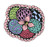 Colorful doodling hand drawn amazing flower. With patterns, vector illustration Royalty Free Stock Photo