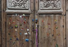 A colorful door, old traditional wooden Chinese Royalty Free Stock Images
