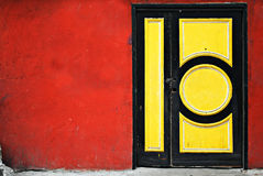 Colorful Door With Simple Geometric Design Royalty Free Stock Photography