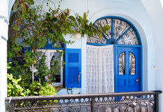 Colorful door at Thira town on Santorini island Royalty Free Stock Photos