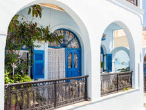 Colorful door at Thira town on Santorini island Royalty Free Stock Photo