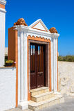 Colorful door at Thira town on Santorini island Royalty Free Stock Image