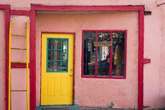 Colorful Door and Window in Madrid, NM royalty free stock image