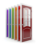 Colorful doors 3D.  on white Royalty Free Stock Photography