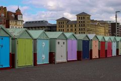 Colorful doors in Brighton. Little houses with colorful doors in Brighton Royalty Free Stock Photo