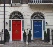Colorful doors. Of central London townhouses Royalty Free Stock Images