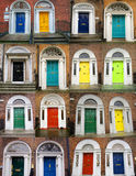 Colorful doors collage. A photo collage of 16 colourful front doors to houses and homes Stock Images