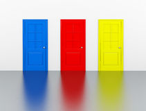 The colorful doors. 3d generated picture of three different colored doors Stock Photo