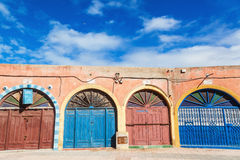 Colorful doors in Essaouira, Morocco. Colorful doors of shops in the UNESCO protected old town of Essaouira, Morocco Stock Image