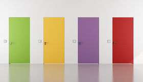 Colorful doors flush with the wall Stock Images