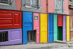 Colorful doors. In the old street Stock Images